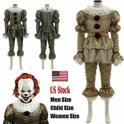 Halloween Stephen King Costume Cosplay Scary Joker Prank Pennywise Mask Clown It $13.99