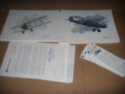 35 United Airlines Collector Series Lithographs 7letters/cards Ex Nixon Galloway
