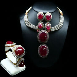 Natural Set Big Size Red With Burma Pink Ruby And White Topaz 925 Sterling Silver