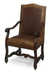 J Neal Arm Chair Traditional Antique Leather Tabacco Non-removable Leg