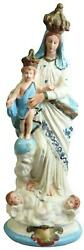 Statue Religious Sculpture Madonna Our Lady Of Victory French Chalkware Blu