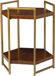 Scarborough House Hexagon Table Two Tier Rosewood Antique Brass Iron