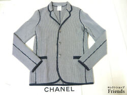 Rare Chanel Jacket Stripes Male And Female Second Hand From JAPAN No.35760