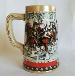 Vintage 1988 Budweiser Beer Mug Holiday Stein Collection Hand Crafted In Brazil