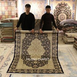 Yilong 5'x8' Classic Silk Area Rugs Hand Knotted Antique Carpets Handmade 1032