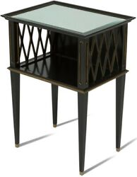 Scarborough House Occasional Table Mirror Top Hollywood Regency Black Gol