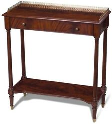 Console Table Scarborough House Crotch Mahogany Brass Gallery Drawer Shelf