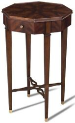 Scarborough House Occasional Table Octagon Crotch Mahogany Brass Accent