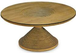 Coffee Table Scarborough House Cascading Brushed Oak Round Glass Top