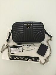 Prada Diagramme Crossbody Bag in Black Leather and Silver Hardware - New