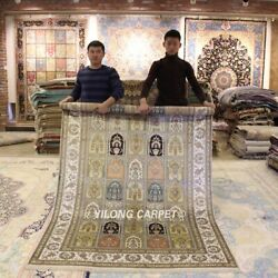 Yilong 5'x8' Antique Four Seasons Hand Knotted Silk Rugs Handmade Carpets Y314ab