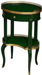 Lamp Table Scarborough House Oval Jade Green Brass Accents Lower Shelf