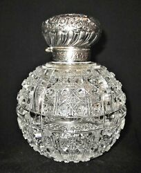 Antique Sterling Lid Cut Glass 6 1/2 Dresser Bottle-john Grinsell And Sons 1903