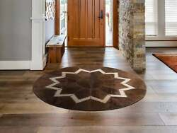 Aydin Luxury Ethically Sourced Round Cowhide Patchwork Area Rug Hair-on-hide D