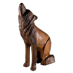 Unique Hand Carved Ironwood Sitting Wolf Howling Figurine Wood Carving 6.5 High