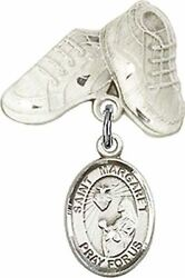 Sterling Silver Baby Badge Baby Boots Pin With Saint Margaret Mary Alacoque Char