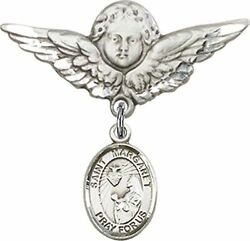 Sterling Silver Baby Badge Guardian Angel Pin With Saint Margaret Mary Alacoque