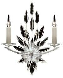 Lily Buds Sconce Wall 2-light Silver Leaf Metal Faceted Crystal Bronze Bra