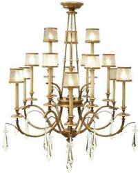 MONTE CARLO CHANDELIER 3-TIER 15-LIGHT GILDED GENTLY WORN GOLD LEAF CRYS