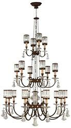 EATON PLACE CHANDELIER 20-LIGHT GARNET UNDERTONES RUSTIC IRON RED METAL