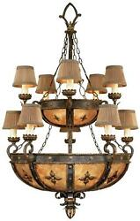 CASTILE CHANDELIER 10-LIGHT ANTIQUED GOLD IRON MICA HAND-SEWN SILK SHADES