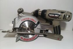 Porter Cable 845 And 884 - Cordless Circular Saw + Drill Tools Only No Batteries