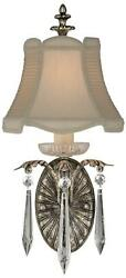 Winter Palace Wall Sconce 1-light Antiqued Silver Silk Shade Lead Crystal