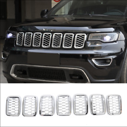 Chrome Car Front Insert Mesh Cover Grille Trim For 2017-2020 Jeep Grand Cherokee