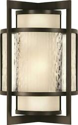 Singapore Moderne Sconce Wall Outdoor 2-light Off-white Dark Bronze Patin