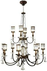 EATON PLACE CHANDELIER 12-LIGHT RUSTIC IRON GARNET UNDERTONES RED METAL