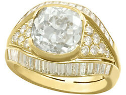 Antique Vintage Italian 6.11ct Old Cut Diamond and 18k Yellow Gold Cocktail Ring