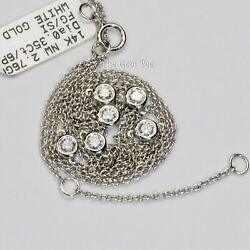 14k Solid White Gold Diamond By The Yard Bezel 16/17/18 Layering Necklace