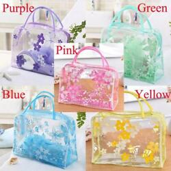 Fashion Pouch Makeup Cosmetic Transparent Toiletry Floral Organizer Bag W $5.99