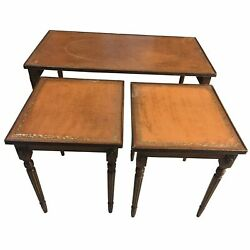 19th C. French Leather Top Cocktail   Coffee Table +2 Nested Side Table-set Of 3