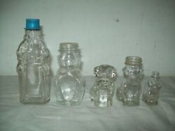 Lot Of 4 Vintage Figural Bottles, + Dog Candy Container 2 - 6 Tall , Beah Peep