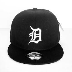 New Mens Detroit Tigers Baseball Cap Fitted Hat Multi Size Black