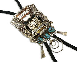 Navajo Turquoise Bolo Tie .925 Silver Bisbee Turquoise Artist Signed Yazzie C80s