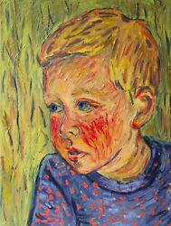 After Van Gogh Oil Painting, Child Playing In The Field, Signed And Dated
