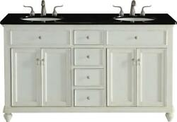 Vanity Cabinet Sink Double Antique White Brushed Steel Brass Solid Wood 4