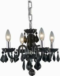 Rococo Pendant Transitional Crystal Jet Chrome Black Glass Steel Wire