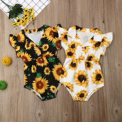 US Summer Toddler Baby Girl Clothes Sunflower Romper Jumpsuit Outfit Sunsuit $10.99