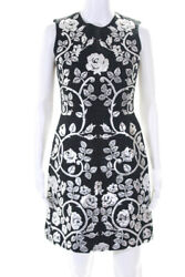 Dolce & Gabbana Womens Dress Black Silver Metallic Leather Applique Size Italian