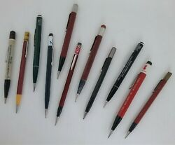Vintage Mixed Lot Of 11 Twist Mechanical Pencils Advertising On Most As Is