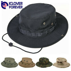 Wide Brim Tactical Boonie Hat Military Camo Bucket Hiking Fishing Booney Sun Cap $7.99