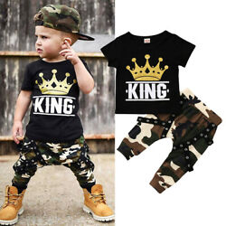 Newborn Kids Baby Boys Summer Clothes T-shirt Top Camo Pants Outfits Set 2PCS $10.99
