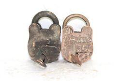 2 Pc. Iron Brass Lock And Key Old Vintage Rare Collectible Pa-19