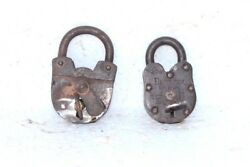 2 Pc Iron Brass Lock And Key 1900and039s Old Vintage Antique Rare Collectible Pb-36