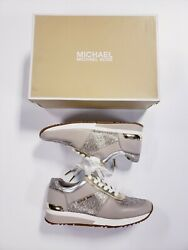 New Michael Kors Women's Allie Trainers Metallic Sneakers Shoes Gold Size 9.5 $107.99