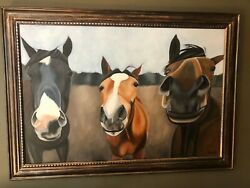 Original Acrylic Painting Of Three Horses Kiss Me By Jeanne Rye 47x29