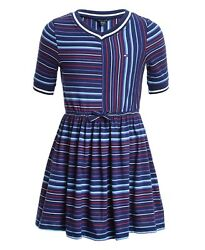 New Tommy Hilfiger Girls Striped V Neck Jersey Dress Size Small 7 MSRP $42.50